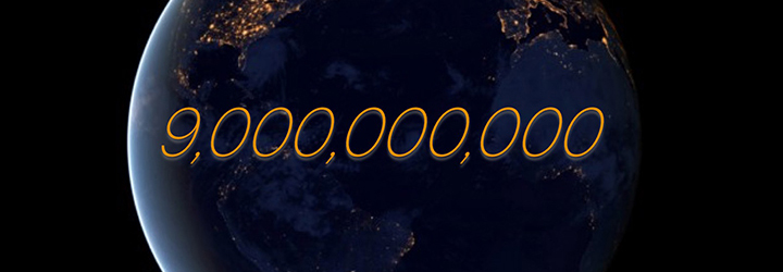 image of earth at night with 9 billion in numbers
