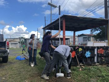 residents installing a light pole