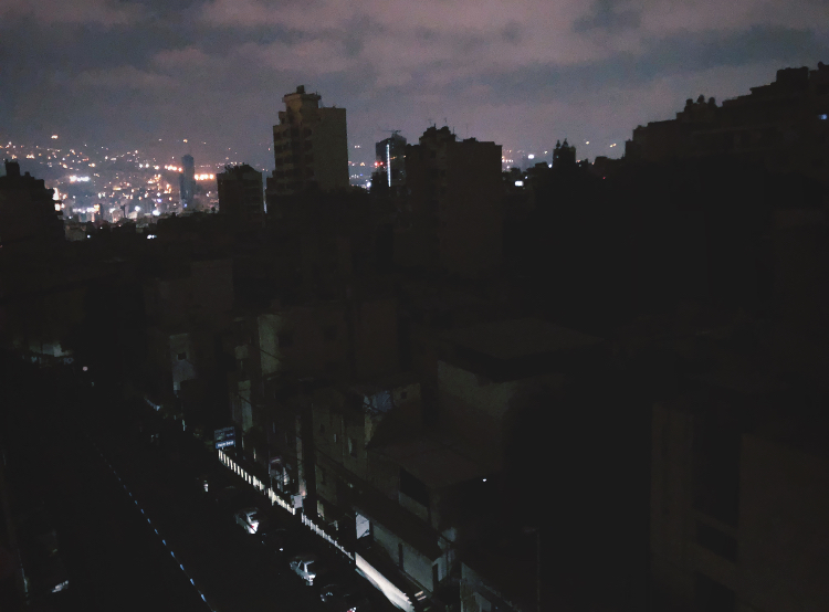 a darkened neighborhood in Beirut