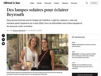 Screenshot of article in L'orient le jour about light for lebanon